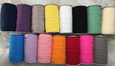 Soft Hallow Fold Over Elastic Roll 10 Metres 15 Mm Headbands Baby Bow Band Lace • 6.75£