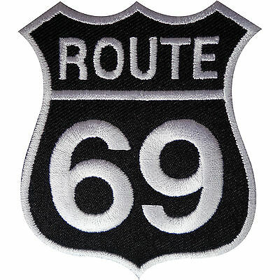 Route 69 Patch Iron Sew On Embroidered Highway Road Sign Biker Badge America USA • 2.79£