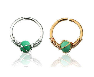 AU3.50 • Buy Turquoise Stone Steel Hoop Ring Nose Ear Helix 20g 7mm Gold Plated / Steel #CM1