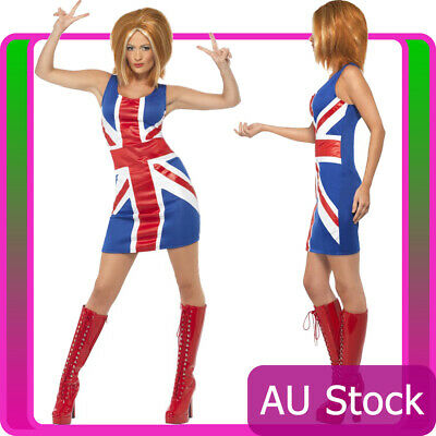 AU35.14 • Buy Ladies 90s Ginger Spice Girls Costume Union Jack Fancy Dress 1990s Pop Star 80s
