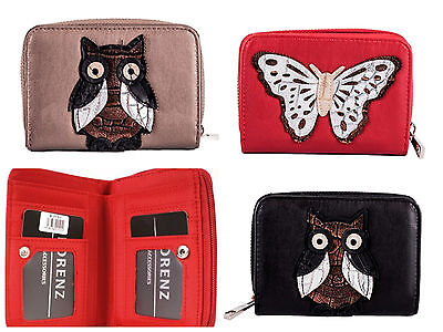 Ladies Faux Leather Purse Wallet With Owl Or Butterfly Motif On The Front • 8.09£