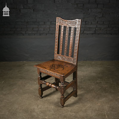 18th C Oak Chair With Ornate Hand Carved Detail And Single Plank Seat • 480£