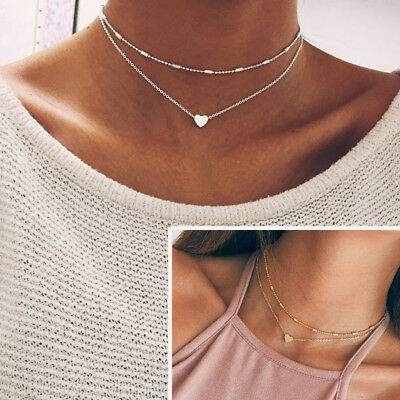 $0.76 • Buy Women Simple Double Layers Chain Heart Pendant Necklace Choker Fashion Jewelry