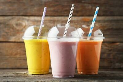 * 20oz Clear Plastic Smoothie, Milkshake, Sweet Cups & Domed Lids With Straws • 0.99£