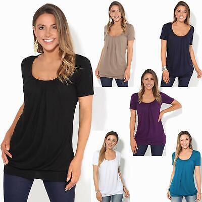 £16.49 • Buy Womens Ladies Pleated T Shirt Long Blouse Loose Jersey Top Plain Tunic Plus 8-20