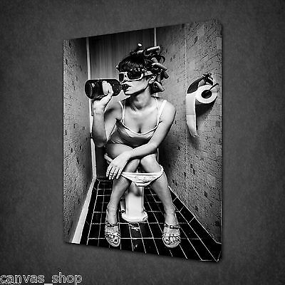 Girl Drinking In The Toilet Nude Wall Art Canvas Print Picture Ready To Hang • 21.85£