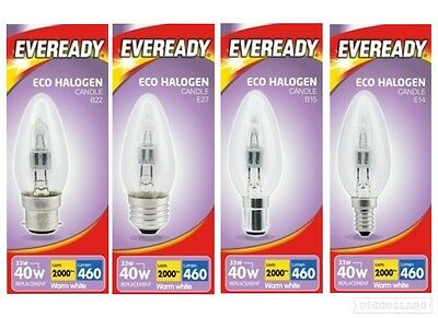 33w Halogen Clear Candle Light Bulbs BC ES SBC SES Push/Screw In 40w  • 7.34£