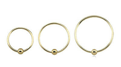 AU34.80 • Buy Gold Real 14K Nose Ear Lip CBR Hoop Ring Fixed Ball 22g 7mm 8.5mm 10mm #HOB