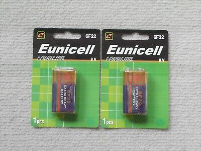 AU4.95 • Buy 2 X Eunicell Heavy Duty 9V Battery 6F22 Carbon-zinc  Smoke Alarm Batteries