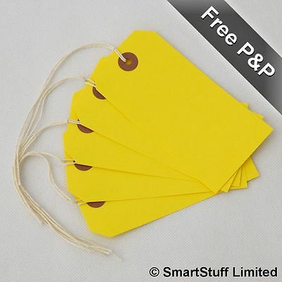 £6.99 • Buy Yellow Strung Tie On Tags / String Luggage Labels Wedding Craft Gifts 120 X 60mm