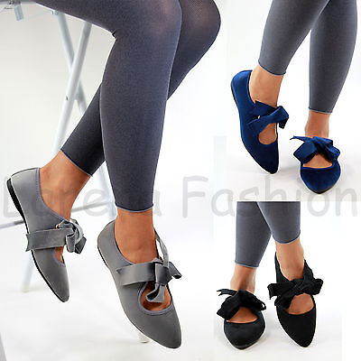 £8.99 • Buy New Womens Pointed Ballet Flats Bow Lace Up Sandals Comfy Pumps Casual Shoes