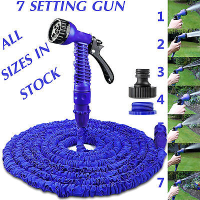 Expandable Garden Hose Flexible 25/50/75/100 Pipe Expanding With Spray Gun Blue • 13.95£