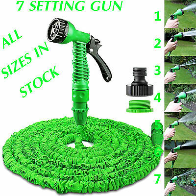 Expandable Garden Hose Flexible 25/50/75/100 Pipe Expanding With Spray Gun Green • 12.95£