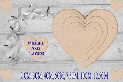 Wooden MDF Hearts Shapes Wedding Craft Tags Embellishments Christmas Decoration  • 2.95£