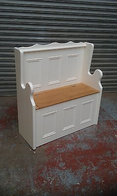 3ft Solid Pine Painted Cream/white Monks Bench Pew/made To Measure/farrow & Ball • 290£