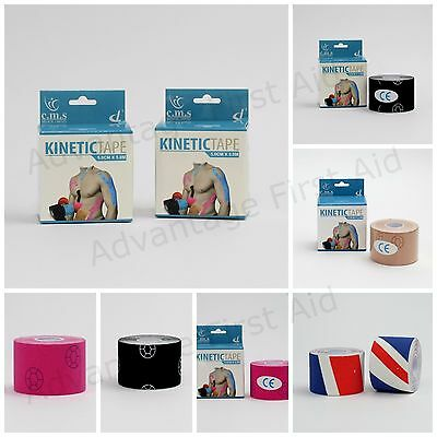 Kinetic Tape For Sports Therapy / Strapping. Kinesiology Support. 5cm X 5m Rolls • 9.30£