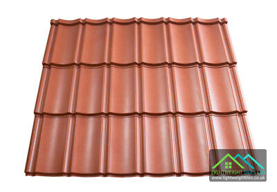 Lightweight Plastic Roof Tiles Pan Tile Sheets Red Shed Cabins Stables Garages  • 8.99£