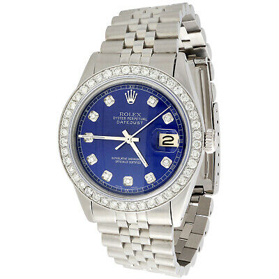 $ CDN7605.86 • Buy Mens Rolex 36mm DateJust Diamond Watch Jubilee Steel Band Custom Blue Dial 2 CT.