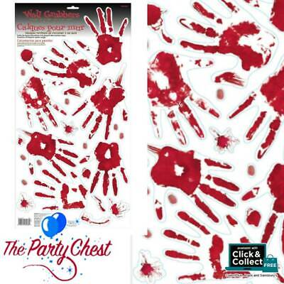 BLOODY HAND PRINT WINDOW CLINGS Crime Scene Halloween Party Decoration 670013 • 2.98£