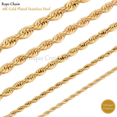 $5.39 • Buy 18K Gold Plated Stainless Steel Rope Chain Bracelet And Necklace Men Women 2-8mm