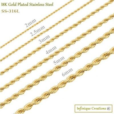 $7.69 • Buy 18K Gold Plated Stainless Steel Rope Chain Bracelet Necklace Men Women 2-8mm