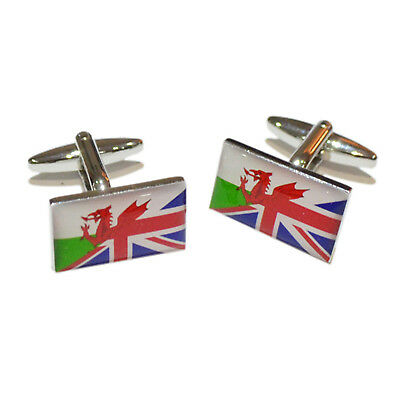 £9.99 • Buy Union Jack Mixed With Welsh Flag Cufflinks In A Cufflink Box - X2BOCF140