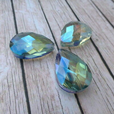 Pack Of 5 Glass Faceted Teardrop Beads Crystal Drops Slight Seconds! • 2.85£