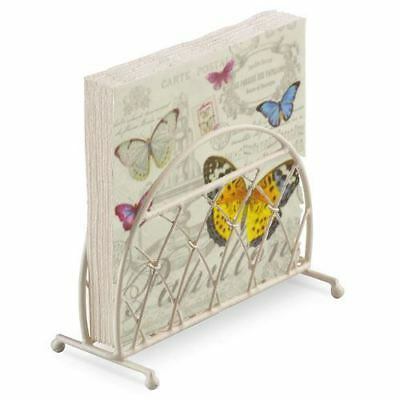 French Butterfly Pink Cream 20 X 3 Ply Paper Napkins & Lattice Napkin Holder Set • 12.95£