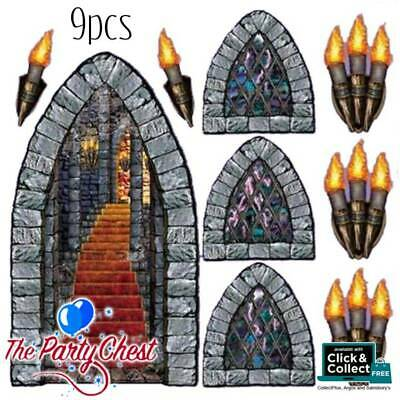 £6.95 • Buy 9PCS 5FT DUNGEON STAIRWAY WINDOW AND TORCH SCENE SETTER SET Wall Decoration 0912