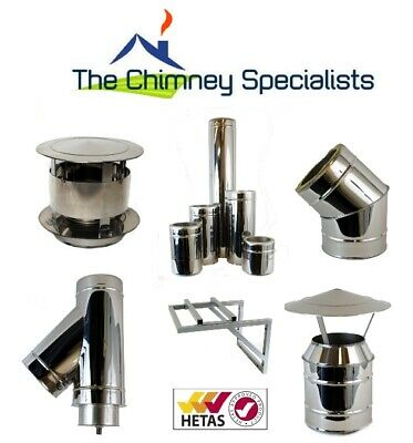 Volcano Plus Twin Wall Insulated Flue Chimney System S/Steel 5  And 6  Internal • 22£