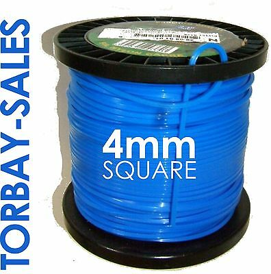 120m DR Strimmer Cord Line Wire String Nylon 4mm Square Petrol TRIMMER HEAVYDUTY • 41.23£