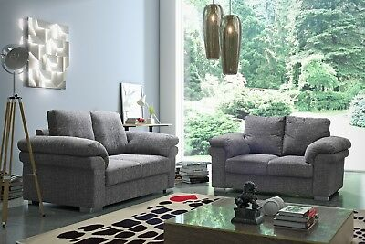 Sale New Oxford Grey Fabric Sofa Settee Suite Couch Sofas 3 Piece Suite Bargain • 299.99£