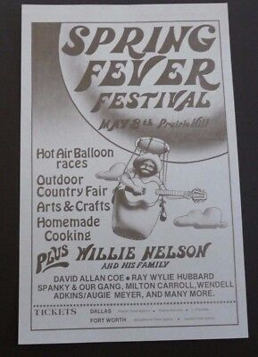 $129.99 • Buy Willie Nelson 7x11 100% Original Concert Flyer Poster May 8th 1976 Prairie Hill