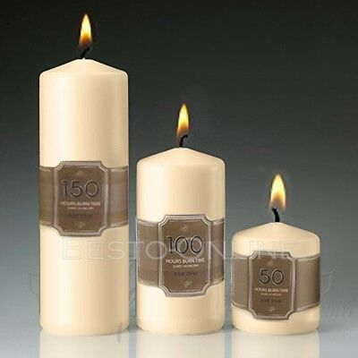 £5.84 • Buy Unscented Thick Round White Classic Church Pillar Table Candles Long Burn Time
