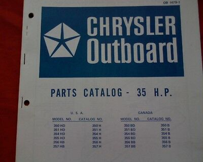 AU18.95 • Buy 1971 - 72 Chrysler 35 Hp. Outboard Motor Spare Parts Manual Service Book