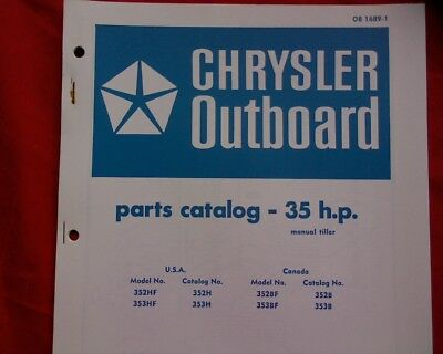AU18.95 • Buy 1973 - 74 Chrysler 35 Hp. Outboard Motor Spare Parts Manual Service Book