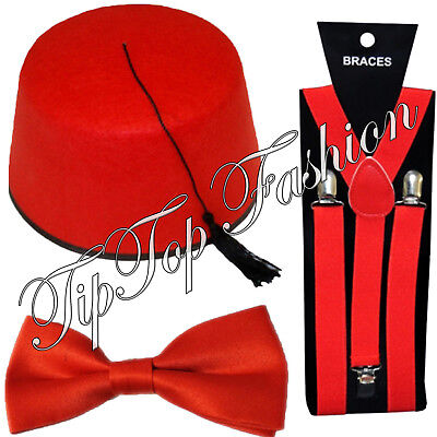 £8 • Buy 1960's Doctor Dr Who British Cultural Fancy Dress Fez Hat Red Bow Tie & Braces