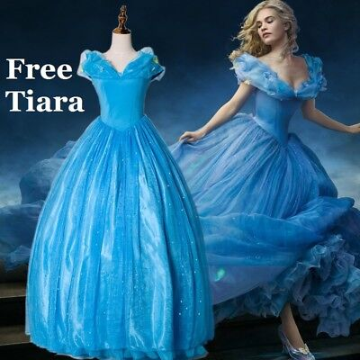 Cinderella Adult Gown Fancy Dress Blue Party Wig  FREE Tiara & Gloves Hoop Skirt • 41.99£