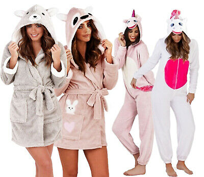 £16.98 • Buy Ladies 3d Soft & Cosy Animal Design Novelty Hooded Girls Dressing Gown Robes