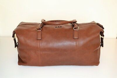 Mens PERSONALISED  Travel Luggage Gift Faux Leather Weekend Duffle Bag, Holdall • 37£