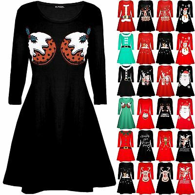 Womens Ladies Xmas Christmas Pudding Cup Cakes Boobs Funny Novelty Swing Dress • 6.49£