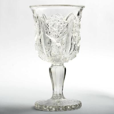 $13.99 • Buy Antique EAPG Wine Glass Hobstars And Zipper Pressed Glass Victorian Era