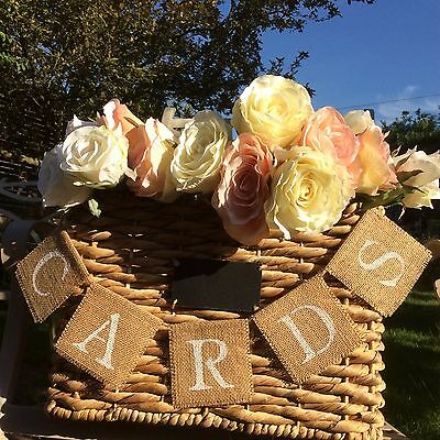 Cards Vintage Rustic Wedding Party Hessian Burlap Fabric Mini Banner Bunting New • 5.99£