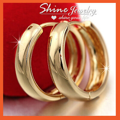 AU13.74 • Buy 18k Yellow Gold Filled Solid Mens Womens 20mm Plain Hoop Huggie Sleeper Earrings