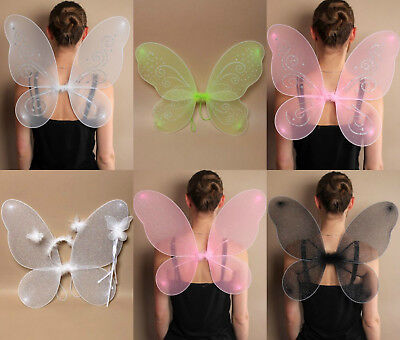 £4.99 • Buy Large Net Fairy Wings With Glitter Fancy Dress Costume Dressing Up Adult Kids