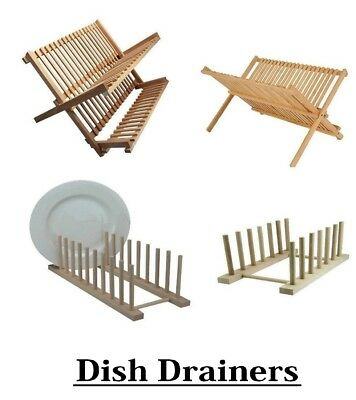 Small And Large Wooden Spike Dish Drainer Rack Holder Beechwood Plate Stand • 14.99£