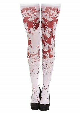 Halloween Fancy Dress Bloody Stockings Hold Ups White Adult Female One Size NEW • 3.28£