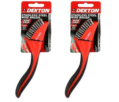 £4.19 • Buy Dekton 2 X Soft Grip  Stainless Steel Metal Wire Brush Ideal For Rust Removal