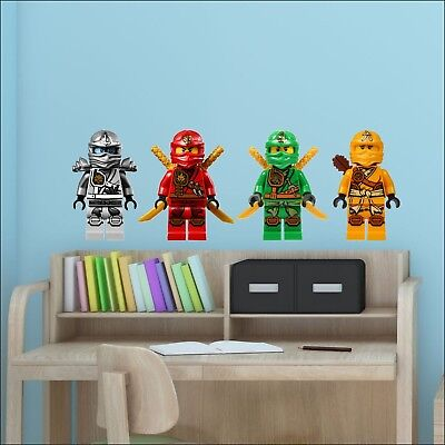 4 Ninjago Lego Movie Characters Colour Wall Sticker Vinyl Transfer Decal 30cm H • 10.49£