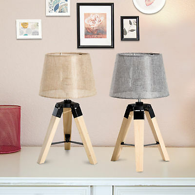 Modern Table Lamp Tripod Wooden Lampshade For Bedroom Bedside Décor 2 Colors • 22.99£